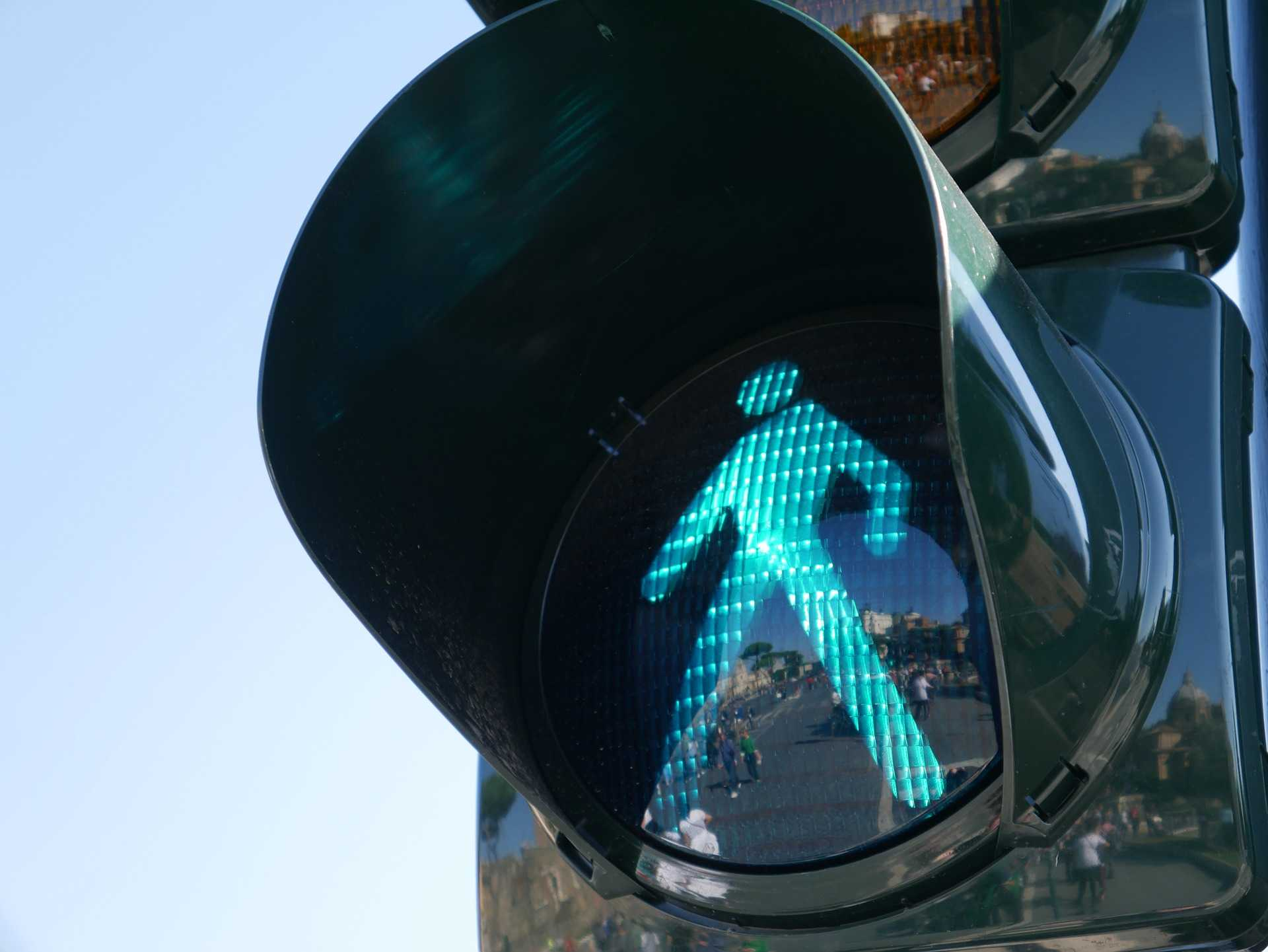 Green man at the pedestrian crossing